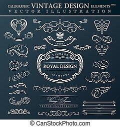 Calligraphic elements vintage ornament set. Vector frames orname