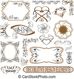 calligraphic elements vintage set. retro feather vector