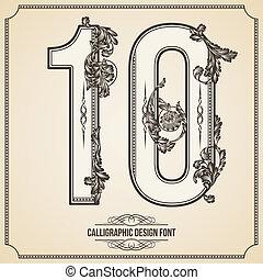 calligraphic, font., nombre, 10., vecteur