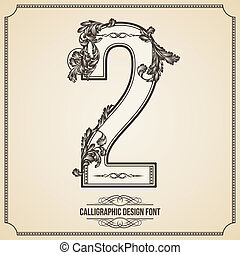 Calligraphic Font. Number 2. Vector