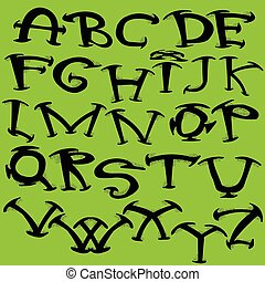 Calligraphic font vector