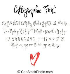 Calligraphic font with numbers, ampersand and symbols.
