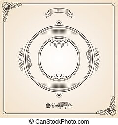 Calligraphic Fotn with Border, Frame Elements and Invitation Design Symbols. Collection of Vector glyph. Certificate Decor. Hand written retro feather Symbol. Letter O