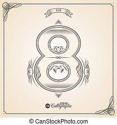 Calligraphic Fotn with Border, Frame Elements and Invitation Design Symbols. Collection of Vector glyph. Certificate Decor. Hand written retro feather Symbol. Number 8