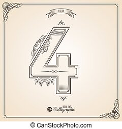 Calligraphic Fotn with Border, Frame Elements and Invitation Design Symbols. Collection of Vector glyph. Certificate Decor. Hand written retro feather Symbol. Number 4