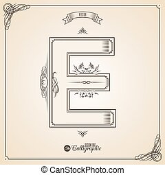 Calligraphic Fotn with Border, Frame Elements and Invitation Design Symbols. Collection of Vector glyph. Certificate Decor. Hand written retro feather Symbol. Letter E
