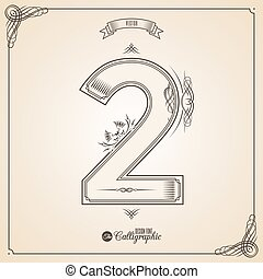 Calligraphic Fotn with Border, Frame Elements and Invitation Design Symbols. Collection of Vector glyph. Certificate Decor. Hand written retro feather Symbol. Number 2