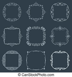 Calligraphic frames set and page decoration. Vector vintage