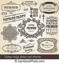 calligraphic, frontera, colección, esquina, marco, elemento