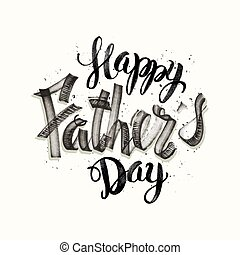"""Calligraphic hand drawn watercolor lettering vector poster.""""Happy father`s day"""" inscription phrase, inspiration for poster, banner, postcard, motivator or part of your design."""