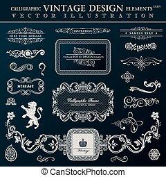 Calligraphic heraldic decor elements. Vector vintage frameworks