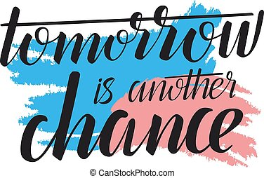 calligraphic, illustration, -, chance, demain, quote., ...