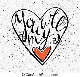 calligraphic, inscrição, tu, é, meu, heart.