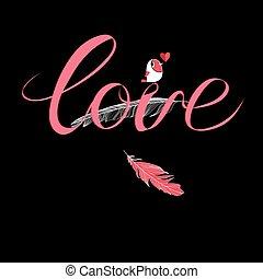 calligraphic, inscripción, amor
