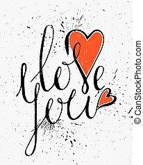 calligraphic, inscripción, amor, you.