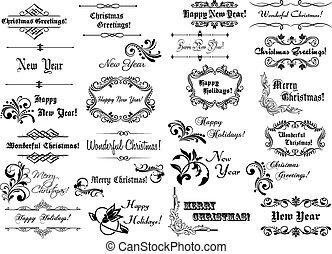 calligraphic, kerstmis, lijstjes, en, randjes