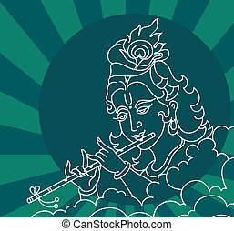 Calligraphic Lord Krishna Vector Art