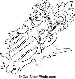 Calligraphic Lord Krishna Vector Art