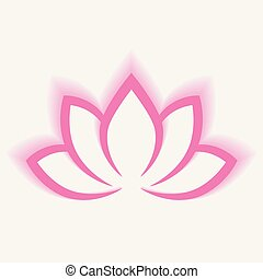 Calligraphic lotus blossom in pink-violet colors. Yoga symbol. Simple flat vector illustration