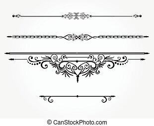 calligraphic, o, elementi, lines., regola, disegno