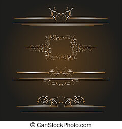 Calligraphic old elements vintage decor vector
