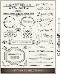 calligraphic, ontwerp onderdelen, en, pagina, versiering