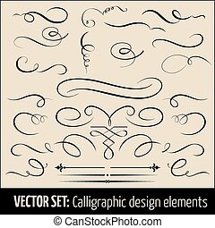 calligraphic, página, elements., conjunto, vector, diseño, ...