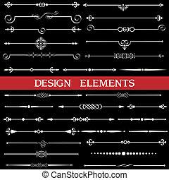 calligraphic, pagina, decorazione, profili di fodera, set, vettore