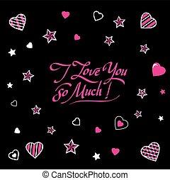 calligraphic, romántico, inscripción, letras, te amo, tan, much.