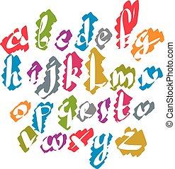 Calligraphic script font, vector alphabet letters.