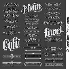 calligraphic, set, lavagna, rotolo