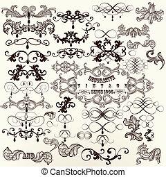 Calligraphic set of vintage vector - Vector set of...