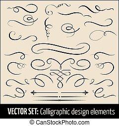calligraphic, side, elements., sæt, vektor, konstruktion, ...