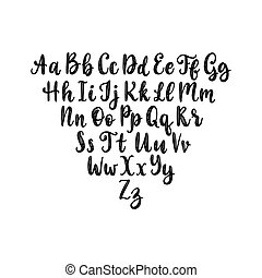 Calligraphic straight font letters on white background. ...