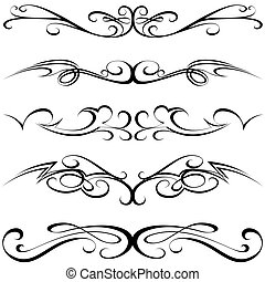 Calligraphic Tattoo - Calligraphic elements - black Tattoo,...