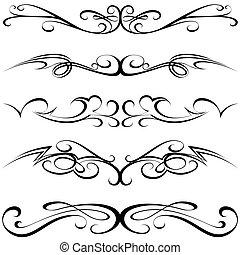 Calligraphic Tattoo - Calligraphic elements - black Tattoo, ...
