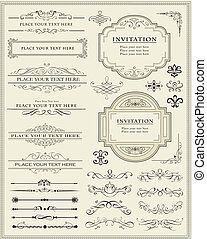 calligraphic, tervezés elem, és, oldal, dekoráció