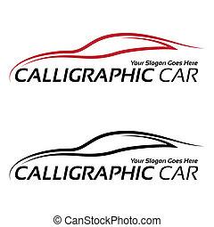 calligraphic, vůz, logos