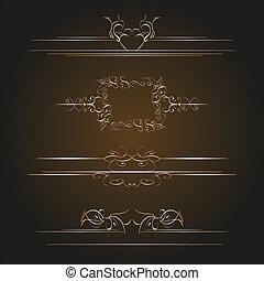 calligraphic, vecchio, elementi, vendemmia, decorazione, vettore