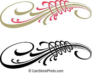 Calligraphic vector design elements