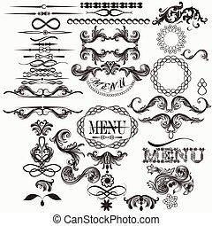 Calligraphic vector elements set in