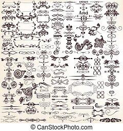 calligraphic, vektor, sammlung, oder, dekorative elemente, design, mega, satz