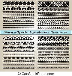 calligraphic, vendemmia, elementi, disegno