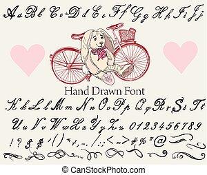 calligraphic, vindima, mão, vetorial, desenhado, fonte, style.eps