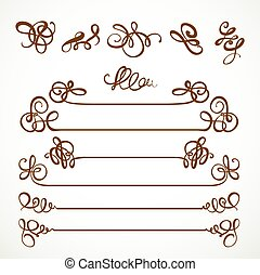 Calligraphic vintage elements set for design on a white background