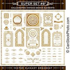 Calligraphic vintage elements. Vector baroque set