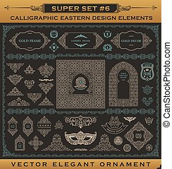Calligraphic vintage elements. Vector baroque set. Design icons