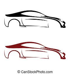 calligraphic, voiture, logos