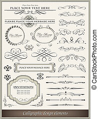 calligraphic, zaprojektujcie elementy, i, strona, ozdoba