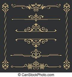calligraphical, conjunto, oro
